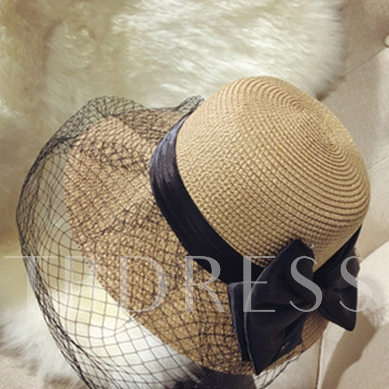 Bowknot Decorated Mesh Summer Straw Hat