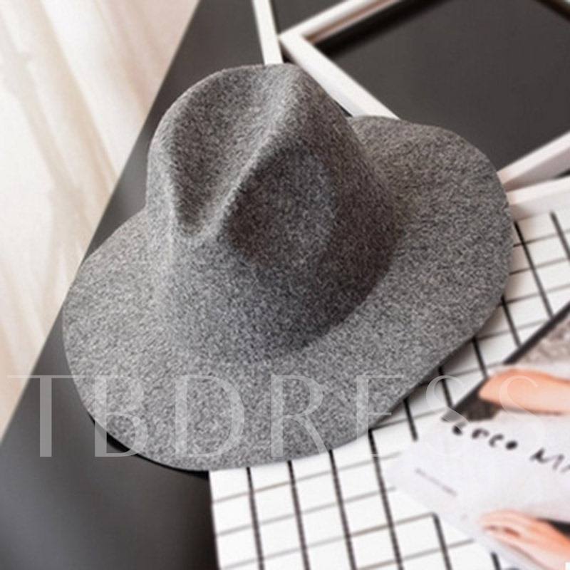 Solid Color Wool Blends Fedora Hat