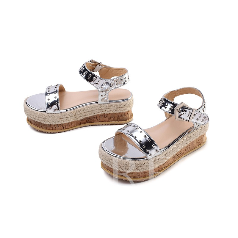Metallic Open Toe Buckle Ankle Strap Women's Espadrille Sandals