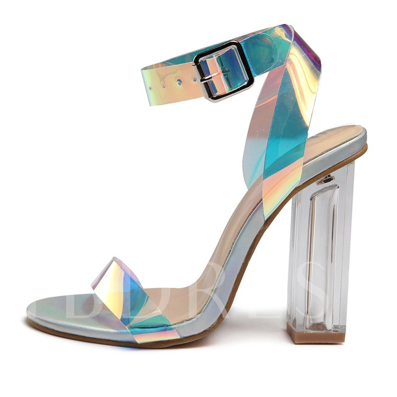 Metallic Open Toe Ankle Strap Chunky Heel Women's Sandals
