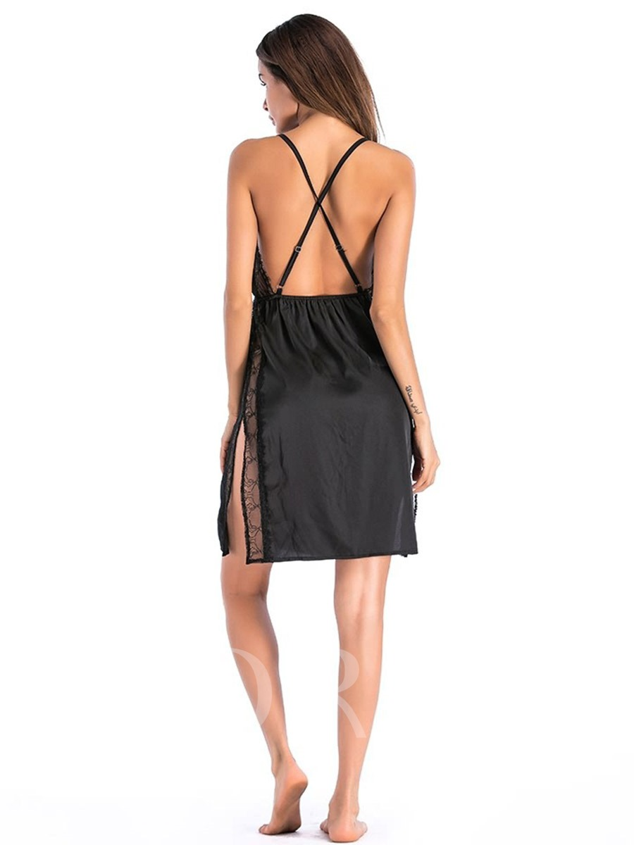 Lace Plain Slit Up Deep-V Sexy Nightgown