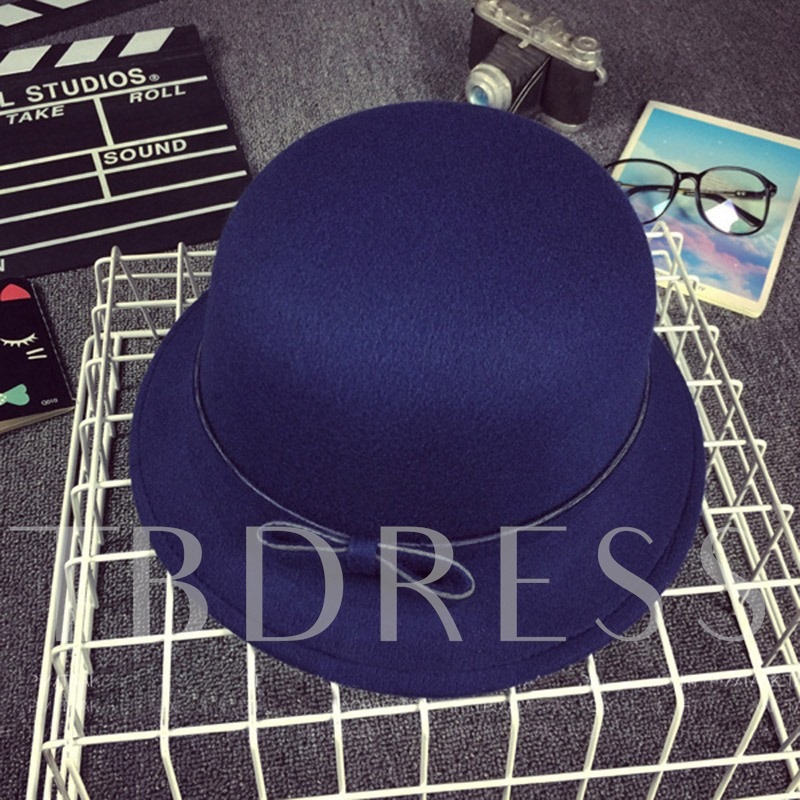 Elegant Bowknot Decorated Wool Blends Fedora Hat