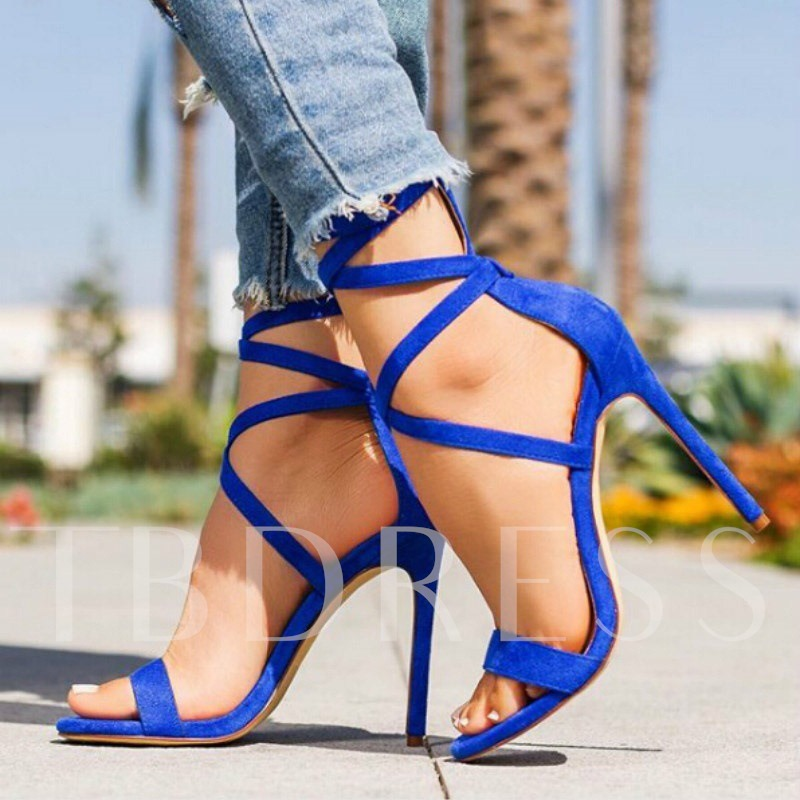 Open Toe Stiletto Heel Heel Covering Lace-Up Casual Sandals