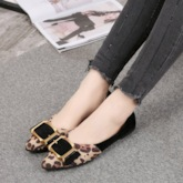 Leopard Print Patchwork Slip-On Buckle Pointed Toe Block Heel Flats