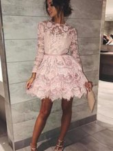 Long Sleeves A-Line Lace Pink Cocktail Dress