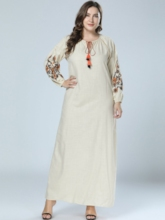 Floral Long Sleeve Lace-Up Women's Maxi Dress