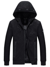 Hooded Plain Lace-Up Casual Men's Jacket