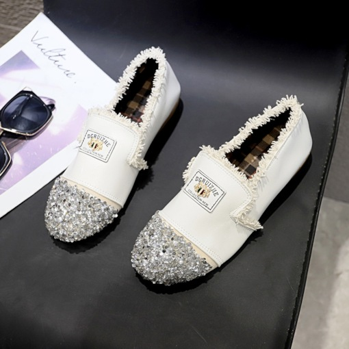 Slip-On Round Toe Sequin Women's Flats