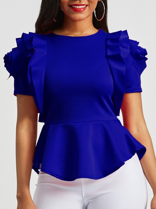 African Fashion Round Neck Flounce Ruffle Peplum Women's Blouse