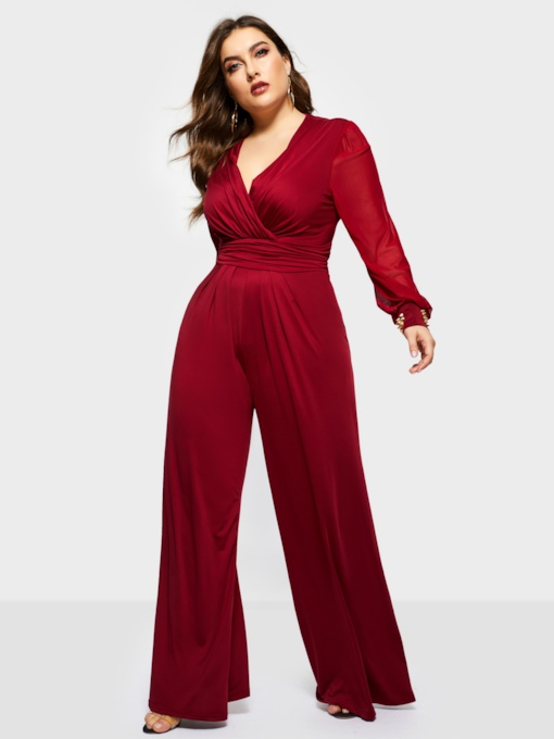 Plus Size Full Length Elegant Bellbottoms Women's Jumpsuits
