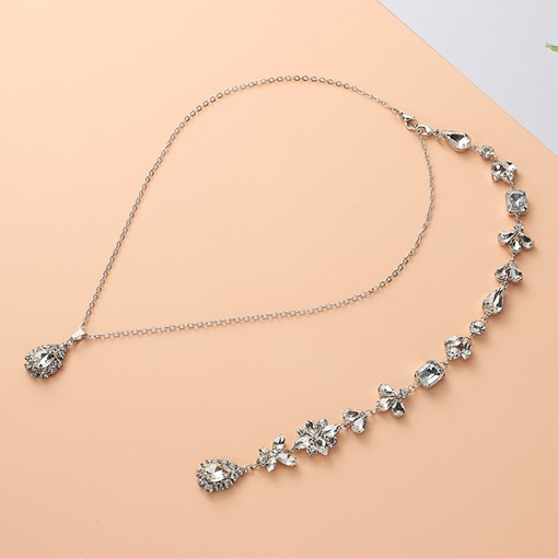 Elegant Rhinestone Decorated Back Chain for Bride