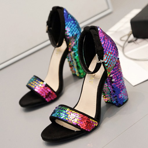 Chunky Heel Line-Style Buckle Heel Covering Open Toe Sequin Sandals