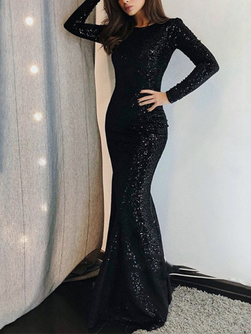 Long Sleeves Mermaid Black Sequins Zipper-Up Evening Dress