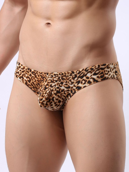 Leopard Print Low-Waist Briefs for Men