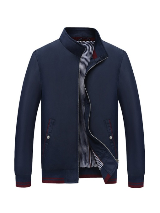 Thin Patchwork Stand Collar Casual Men's Jacket