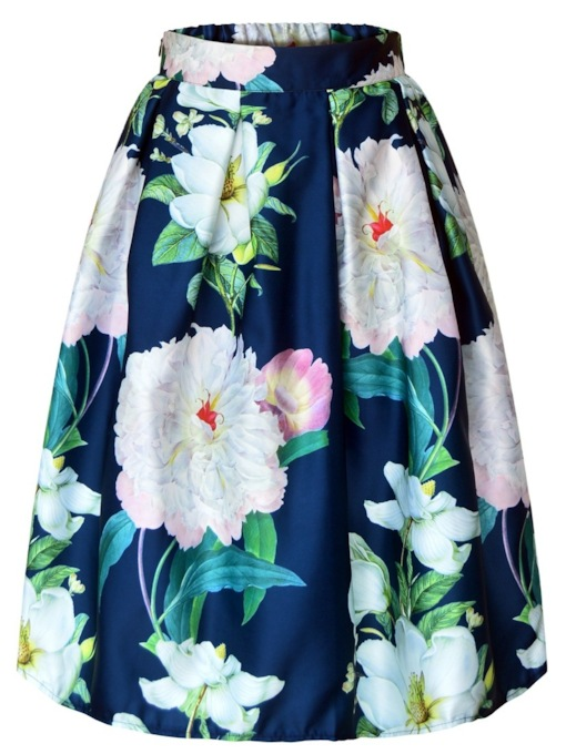 Print Knee-Length A-Line Floral Vintage Women's Skirt