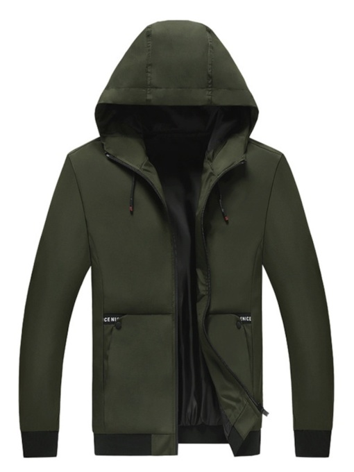 Plain Hooded Lace-Up Zipper Men's Jacket
