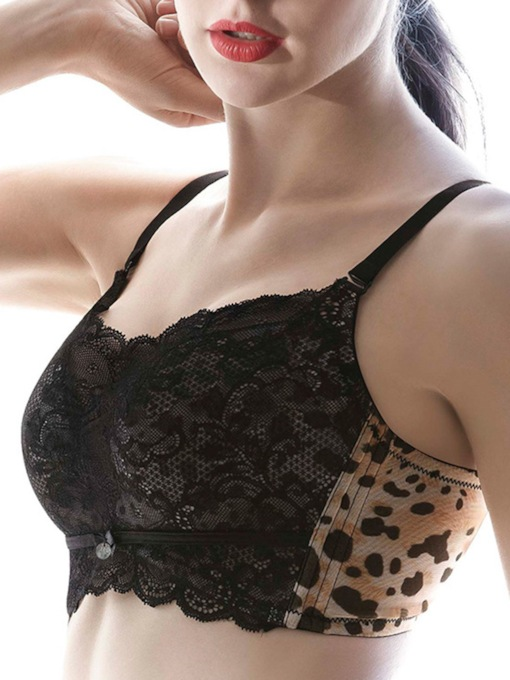 Patchwork Leopard Mesh Adjustable Bra