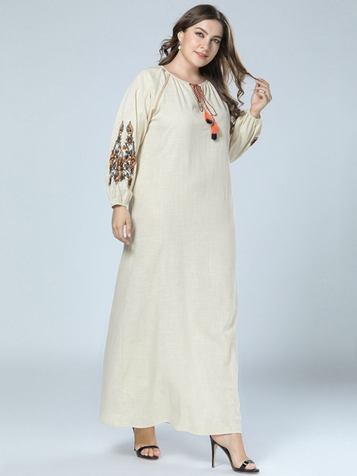 Plus Size Floral Long Sleeve Lace-Up Women's Maxi Dress