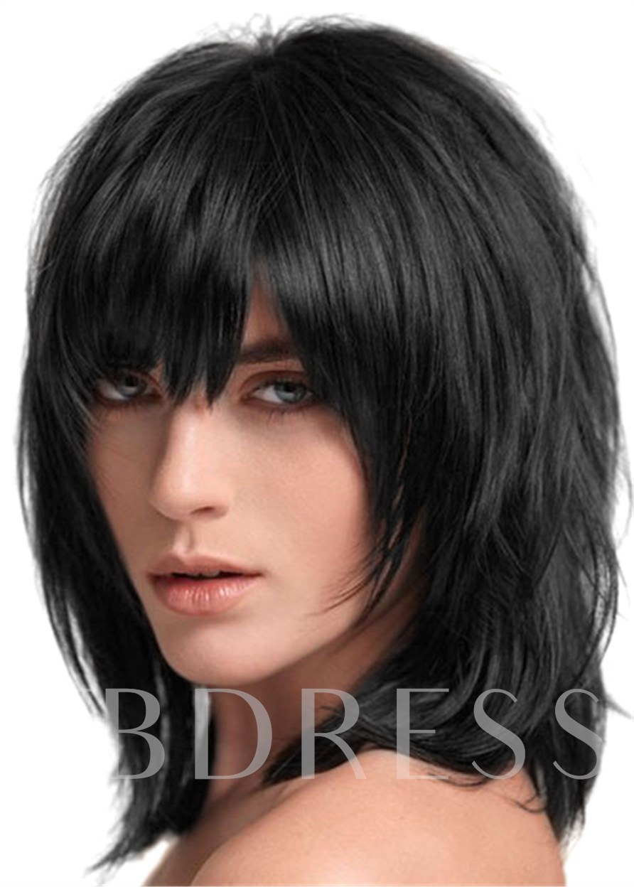 Middle Length Women's Straight Synthetic Hair Wigs Capless Cap Wigs 12inch