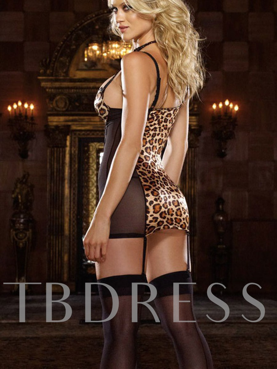 Leopard See-Through Sleeveless Sexy Chemise