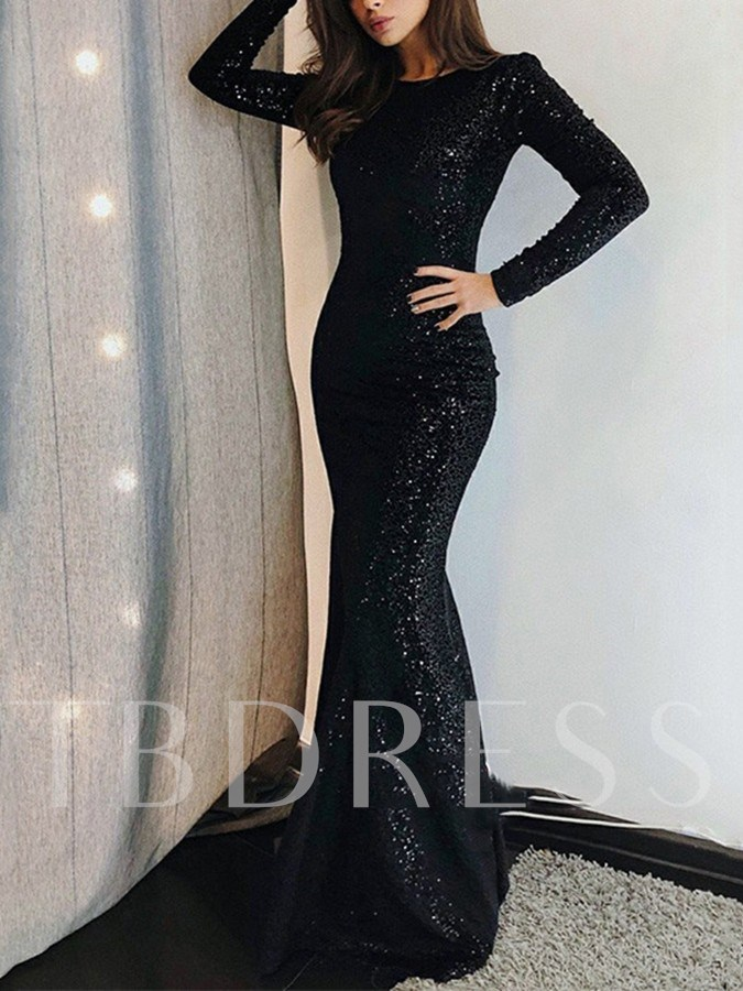 Floor-Length Jewel Long Sleeves Mermaid Evening Dress