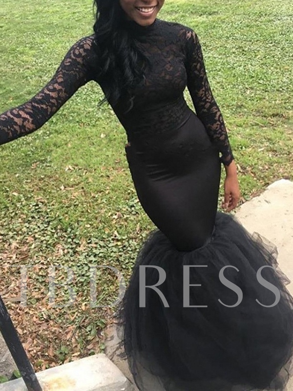 Sweep Train Trumpet Long Sleeves Lace Evening Dress