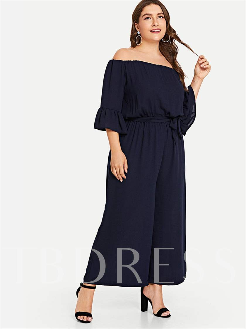 Plus Size Lace-Up Ankle Length Wide Legs Women's Jumpsuits