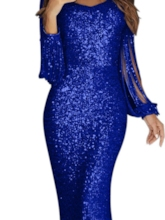 Tassel Long Sleeves Sheath Sequins Evening Dress