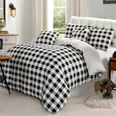 Black and White Plaid Pattern Simple Style Cotton 4-Piece Bedding Sets/Duvet Covers