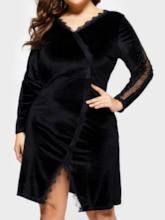 Plus Size V-Neck Long Sleeve Casual Women's Long Sleeve Dress