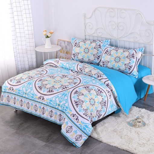 Fresh Paisley Blue Bohemian Style Pattern 4-Piece Bedding Sets/Duvet Cover