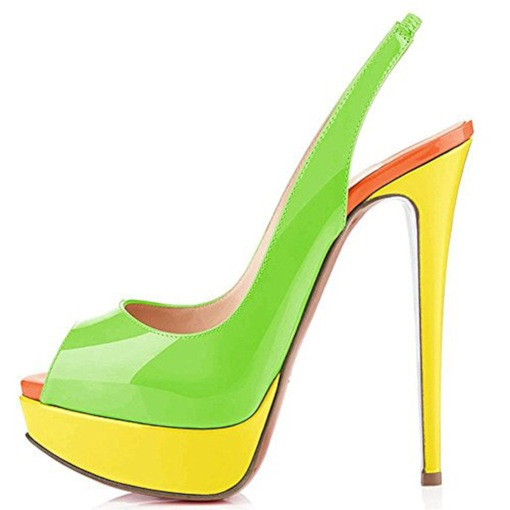 Color Block Slingback Strap Stiletto Heel Peep Toe Platform Sandals