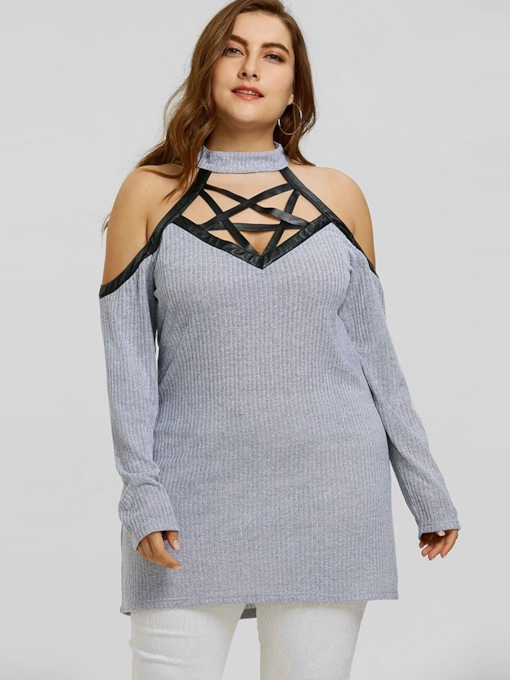 Cold Shoulder Hollow Plus Size Women's Sweater