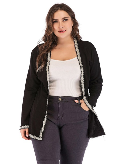 Straight Plus Size Mid-Length Women's Jacket