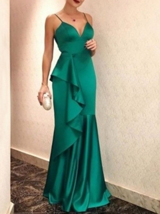 Sleeveless Trumpet Floor-Length Ruffles Evening Dress