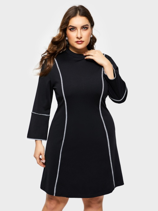 Plain Round Neck A-Line Women's Long Sleeve Dress