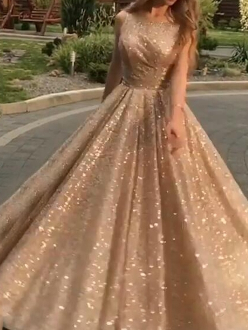 Sequins Floor-Length Scoop A-Line Evening Dress