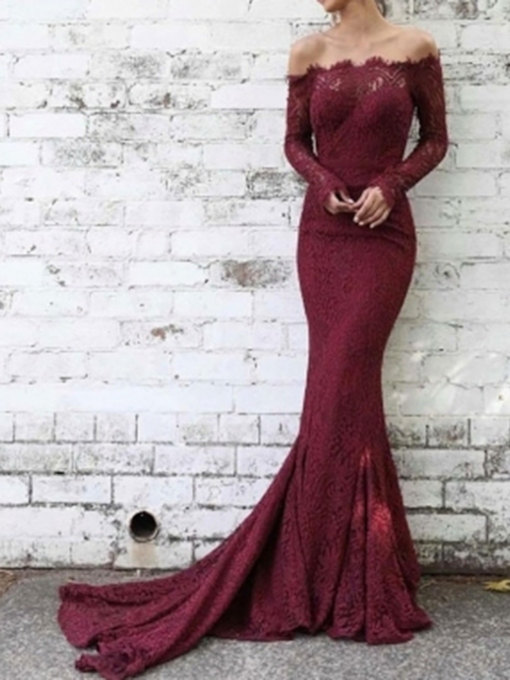 Off-The-Shoulder Long Sleeves Lace Evening Dress