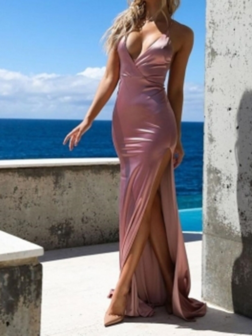 Trumpet Floor-Length Spaghetti Straps Split-Front Evening Dress