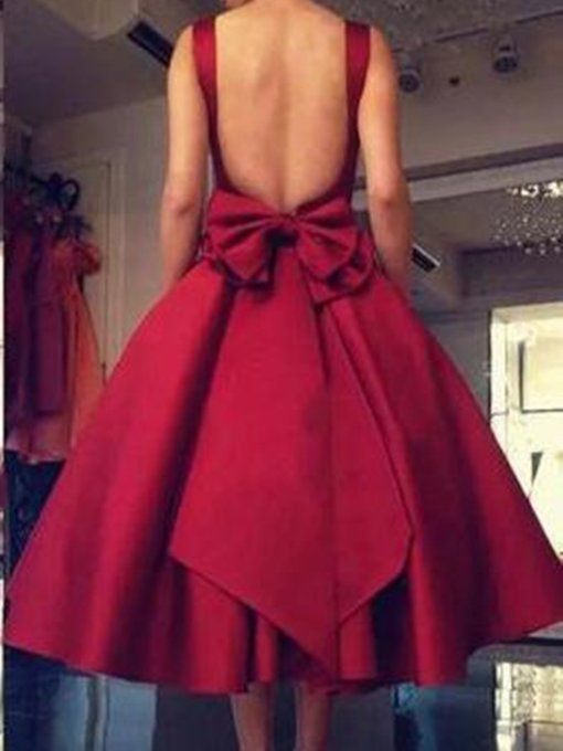 Bowknot Ankle-Length Sleeveless Square Cocktail Dress