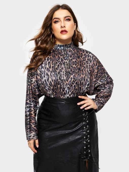 Stand Collar Leopard Batwing Sleeve Plus Size Women's Blouse