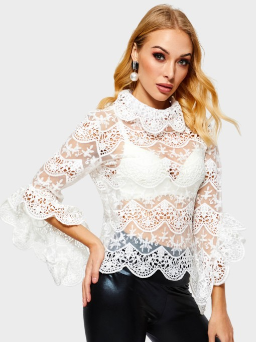Slim Lace See-Through Women's Blouse