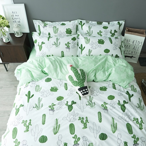 Cactus Printed Cotton Casual Style White Duvet Covers/Bedding Sets