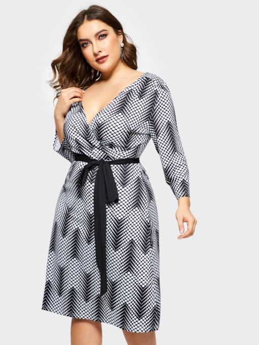 Print V-Neck Pencil Stripe Women's Long Sleeve Dress