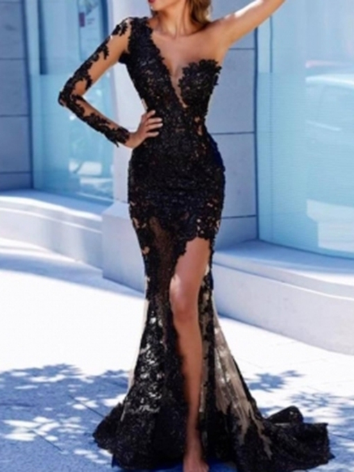 One Shoulder Appliques Long Sleeve Black Evening Dress