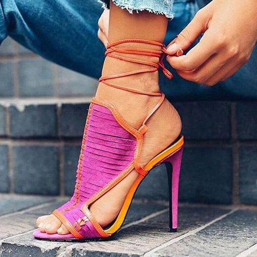 Stiletto Heel Open Toe Lace-Up Strappy Women's Sandals