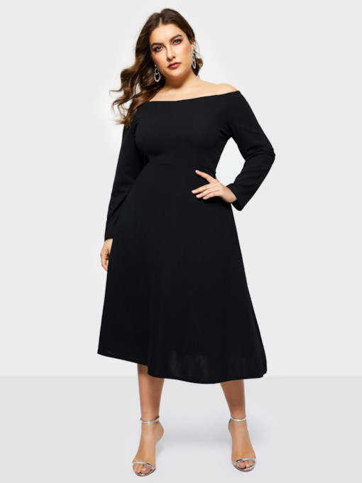 Plus Size Patchwork Off Shoulder Plain Women's Long Sleeve Dress