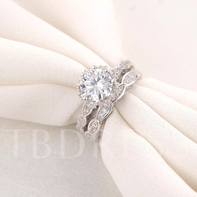 Shiny Imitation Diamante Bronze Party Ring