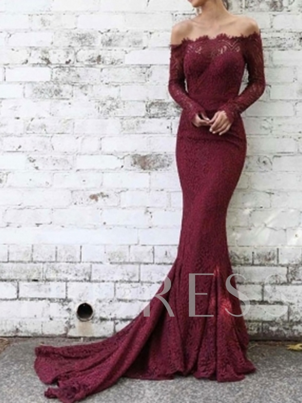 Off-The-Shoulder Long Sleeves Lace Evening Dress 2019